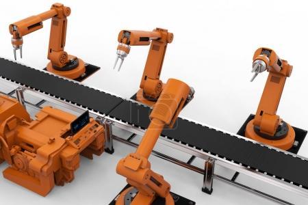 Photo pour Bras de robot de rendu 3d avec ligne de convoyeur - image libre de droit
