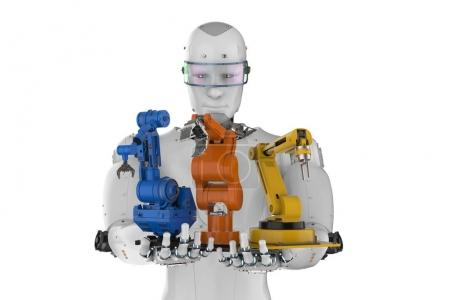 Photo for 3d rendering cyborg holding three robot arms - Royalty Free Image