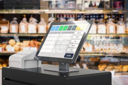 Photo pour Point de rendu 3D du système de vente pour la gestion de magasin - image libre de droit