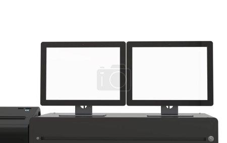 Photo pour Machine de caisse à écran vide de rendu 3d ou caisse enregistreuse - image libre de droit