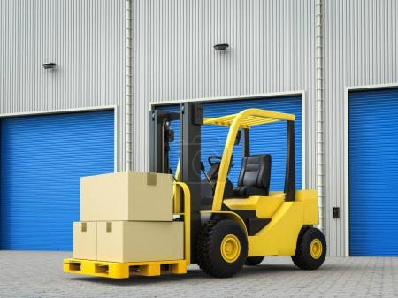 forklift truck with boxes in warehouse