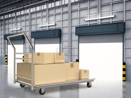 Photo pour Chariot d'entrepôt de rendu 3d avec tas de boîtes de rangement - image libre de droit