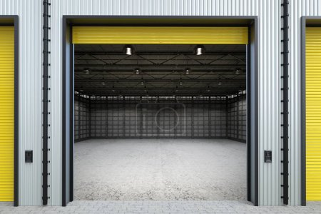 warehouse interior with shutter doors