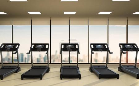 Photo pour Tapis de course de rendu 3d ou machines de course dans la salle de fitness - image libre de droit
