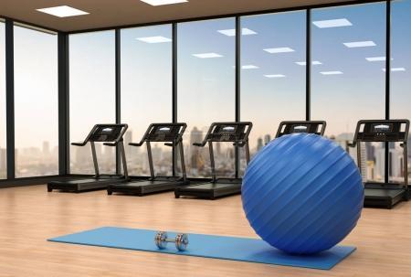 Photo pour 3d rendu balle de fitness sur tapis de yoga dans la salle de gym - image libre de droit