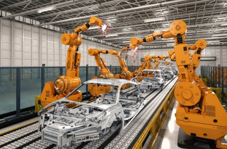 Photo pour Rendu 3D robot ligne d'assemblage en usine automobile - image libre de droit