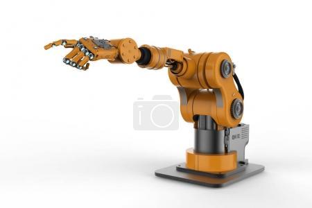 Photo pour 3D main robotisée de rendu avec les doigts sur fond blanc - image libre de droit