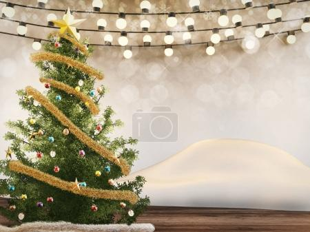christmas tree decorate with christmas ornaments