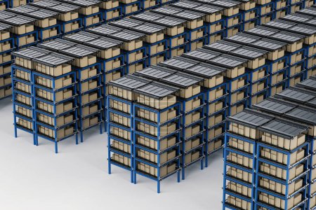 Photo for 3d rendering racks full of carton boxes in warehouse - Royalty Free Image