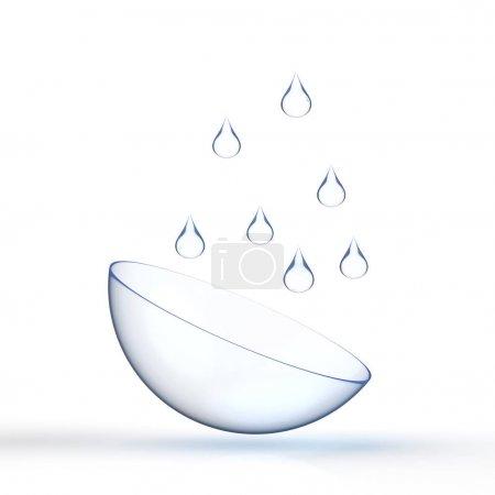 Photo pour Contact de rendu 3d len avec goutte d'eau sur fond blanc - image libre de droit