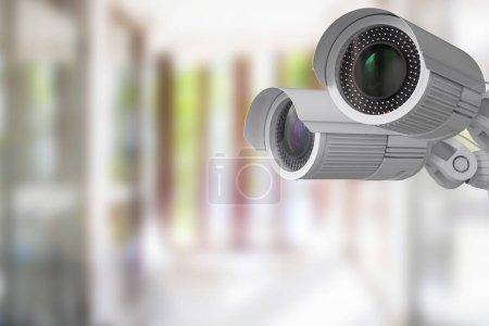 Photo pour Caméra de sécurité rendu 3D ou la caméra de vidéosurveillance d'intérieur - image libre de droit