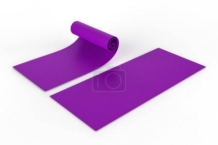 Photo for 3d rendering purple yoga mat roll up on white background - Royalty Free Image