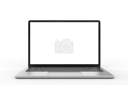 Photo pour 3d rendu ordinateur portable écran vierge sur fond blanc - image libre de droit