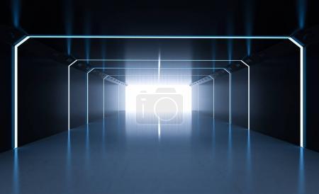 Photo pour 3d rendant l'espace vide sombre avec une lumière brillante - image libre de droit
