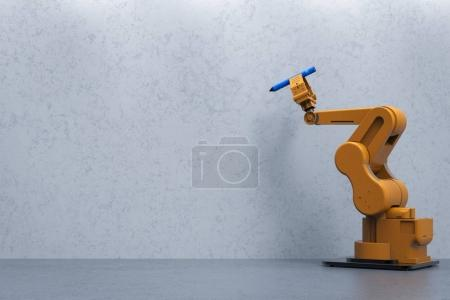 Photo for 3d rendering robot arm holding pen with blank wall - Royalty Free Image
