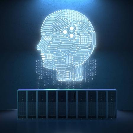 Photo pour Ordinateur serveur de rendu 3d avec circuit brai - image libre de droit