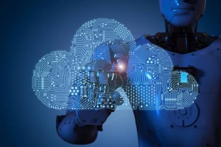 Photo pour Cloud de circuit de rendu 3d avec robot humanoïde - image libre de droit