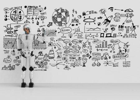 Photo pour Robot humanoïde 3D rendu écrit business plan sur mur - image libre de droit