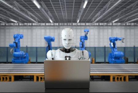 Photo pour Robot de rendu 3d fonctionnant avec ordinateur portable en usine - image libre de droit