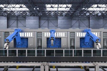 Photo pour Machines robotiques de rendu 3d avec ligne de convoyeur - image libre de droit