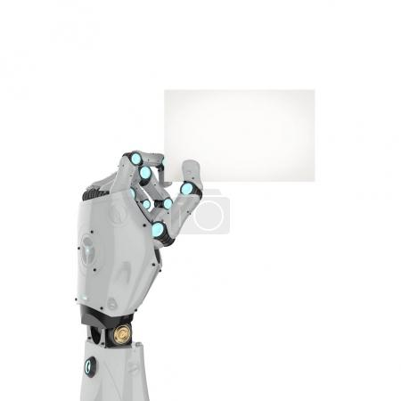 Photo for 3d rendering robot hand holding blank business card isolated on whit - Royalty Free Image