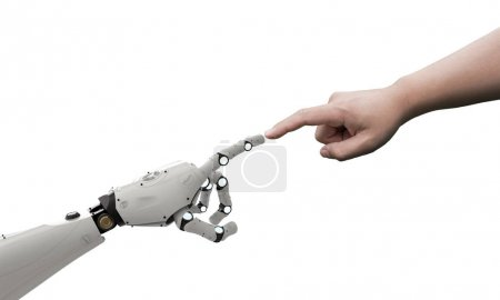 Photo for Connection concept with human finger connect to 3d rendering robot finge - Royalty Free Image