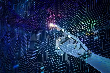 Photo for 3d rendering robot finger pointing on circuit board background - Royalty Free Image