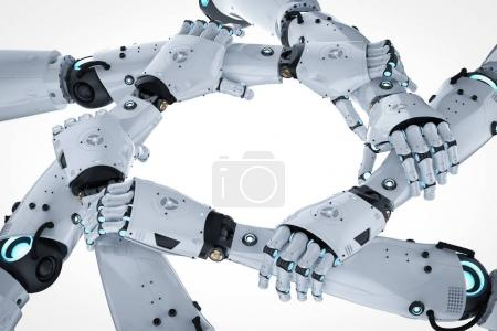 Photo for 3d rendering robot hand holding together or robot teamwor - Royalty Free Image