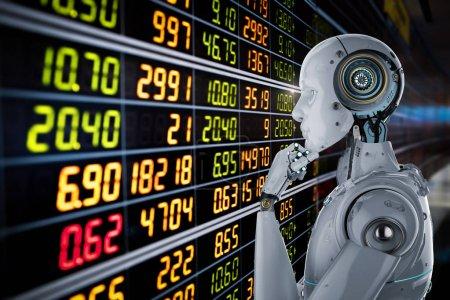 Photo pour Le robot humanoïde de rendu 3D analyse le marché boursier - image libre de droit