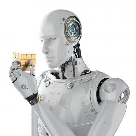 Photo pour Robot humanoïde de rendu 3d jouant au cube perplexe - image libre de droit