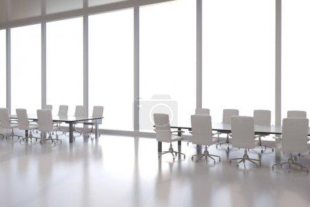 Photo pour 3D rendant vide salle de conférence ou espace de bureau avec table et chaise - image libre de droit