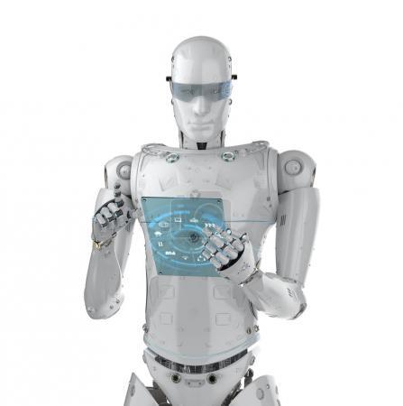 Photo pour Robot humanoïde rendu 3D travaillant avec tableau numérique - image libre de droit
