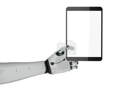 Photo pour 3D rendu robotique main tenant tablette écran blanc isolé - image libre de droit