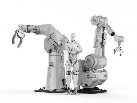 Photo pour Robot humanoïde de rendu 3D avec bras robotisé - image libre de droit