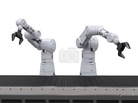 Photo pour Bras de robot de rendu 3D avec convoyeur lin - image libre de droit