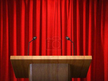 Photo pour 3D podiume en bois rendu avec microphone sur le rideau rouge backgroun - image libre de droit
