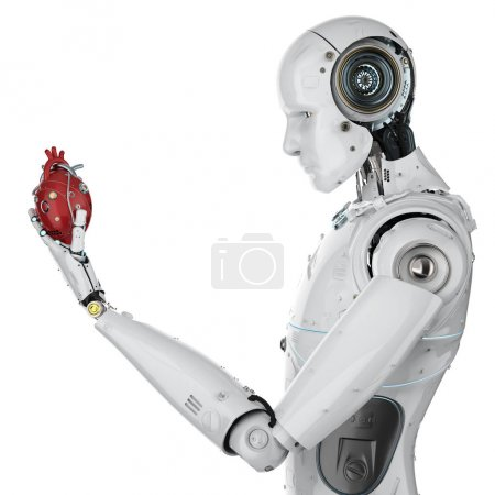 Photo for 3d rendering robot hand holding red robotic heart isolated on white - Royalty Free Image