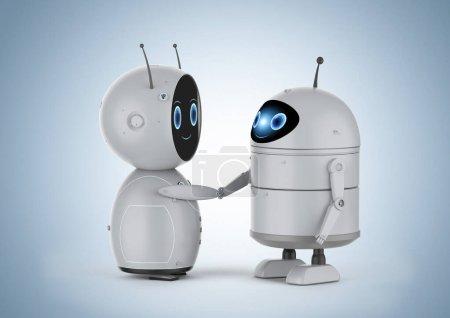 Photo pour Robot androïde de rendu 3D ou robot d'intelligence artificielle agitation de main - image libre de droit