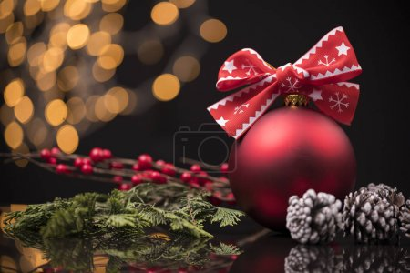 Composition of the Christmas decorations on dark background