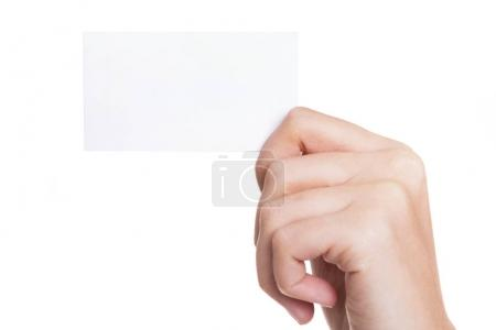 Photo for Female hand holding business card on white background - Royalty Free Image