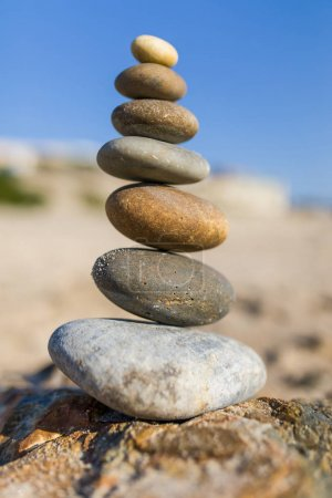 Pile of stones on the beach close up