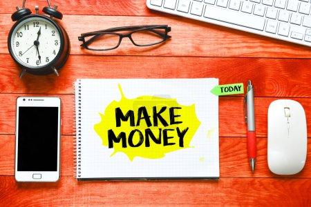 Make money inscription on notebook