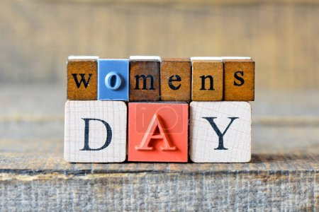 Photo for Womens day 8 march on wooden cubes - Royalty Free Image