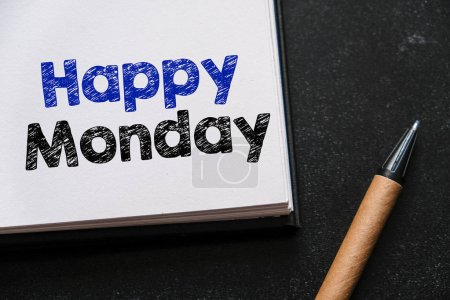 Photo for Happy monday note in white notebook - Royalty Free Image