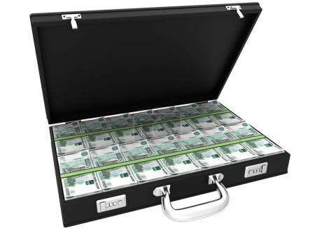 3D Suitcase full of rubles