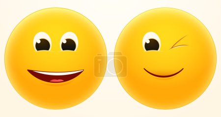 Illustration for Vector icons of laugh and wink faces - Royalty Free Image