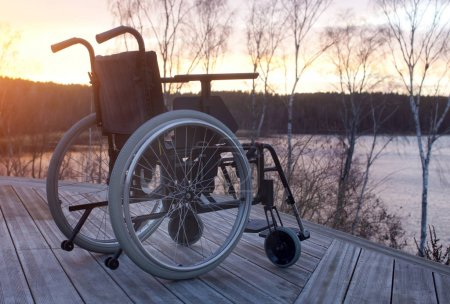Empty wheelchair  at dusk