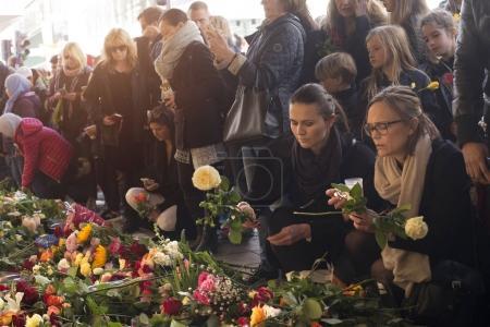 STOCKHOLM, SWEDEN - April 09, 2017:Floral Tributes in Stockholm,