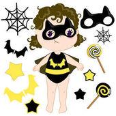 Cute cartoon superhero girl vector clip art set