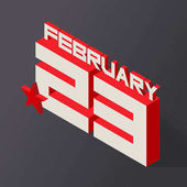 February 23 in isometric style